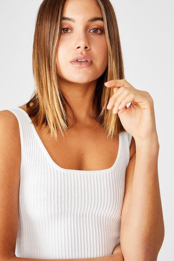 Mikaela Square Neck Knit Top, WHITE