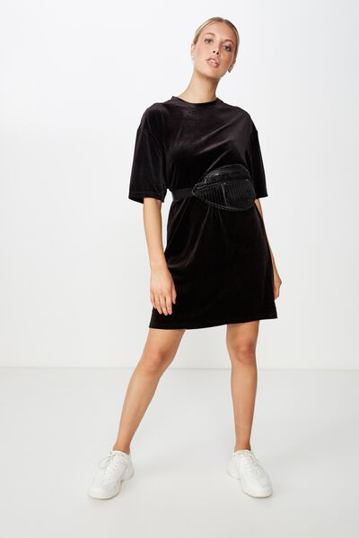 Velour T-Shirt Dress, BLACK