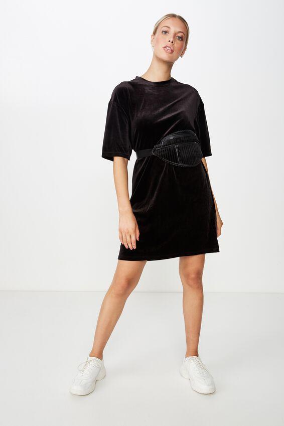 Velour T-Shirt Dress, BLACK