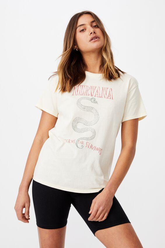 Kendall Printed T Shirt, SOFT STONE/LCN LIV NIRVANA SNAKE