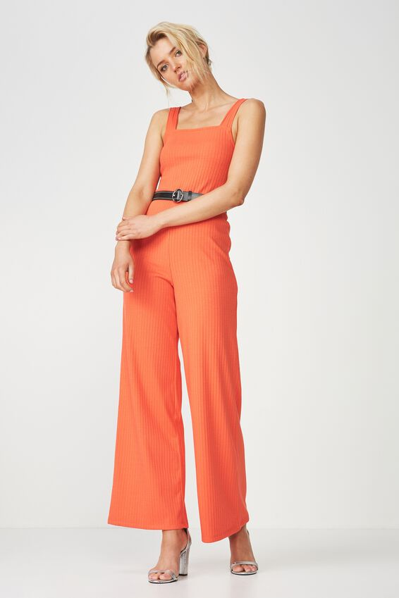 Square Neck Rib Jumpsuit | Tuggl