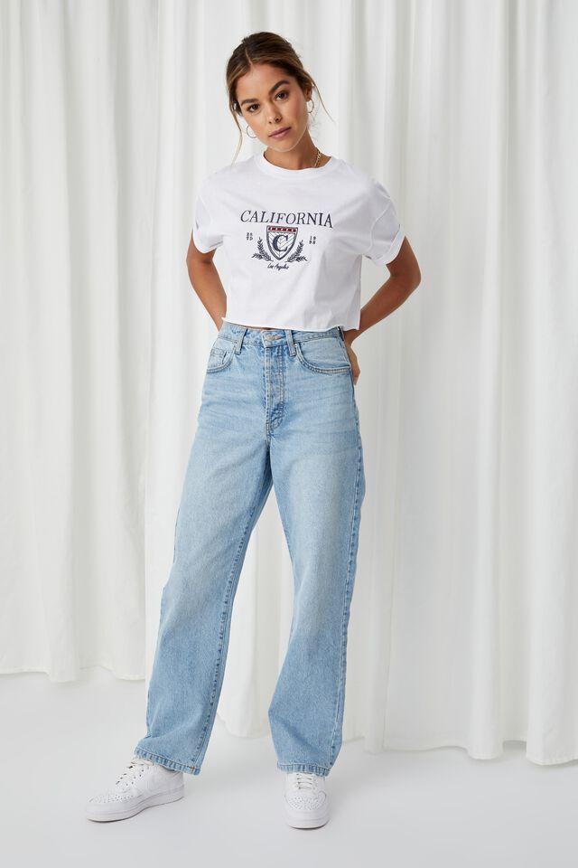 Tamara Printed Crop T Shirt, WHITE/CALI LOS ANGELES