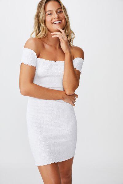 Kristy Shirred Off Shoulder Dress, WHITE