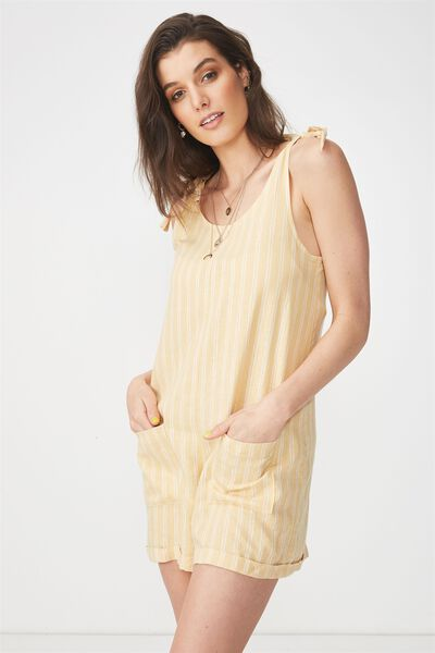 Lexi Tie Shoulder Linen Blend Playsuit, HONEY STRIPE