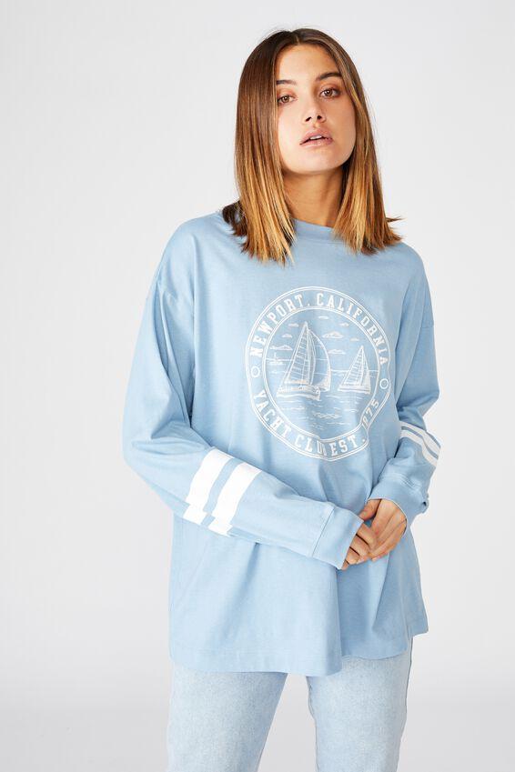 Yacht Long Sleeve Tee, DUSK BLUE/NEWPORT YACHT CLUB