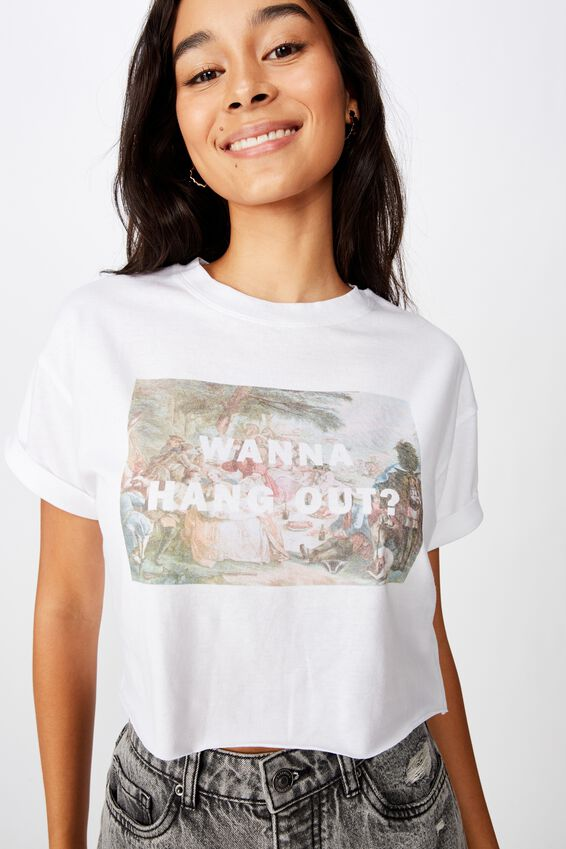 Wanna Hang Out Crop Tee, WHITE/WANNA HANG OUT