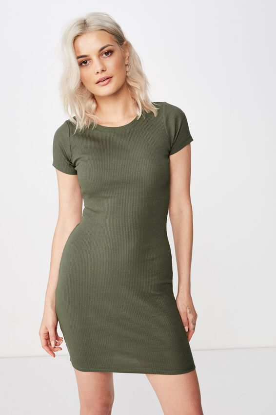 Lucia Rib Tee Mini Dress, OLIVE KHAKI