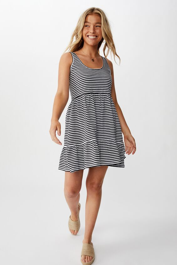 Sunny Tank Dress, BLK/WHT STRIPE