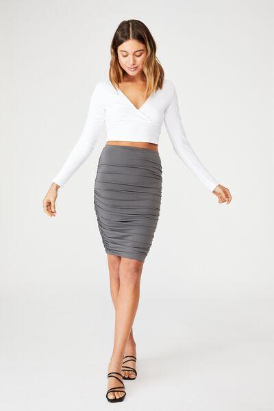 Oakley Gathered Midi Skirt, GRANITE GRAY