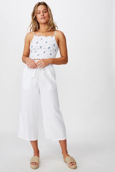 Ruby Crop Tie Waist Pant, WHITE