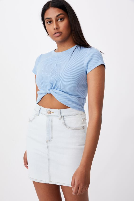 Clara Stretch Denim Mini Skirt, GLACIER BLUE