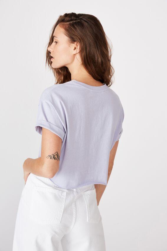 Tamara Printed Crop T Shirt, LAVENDER SKY/USA FLAG