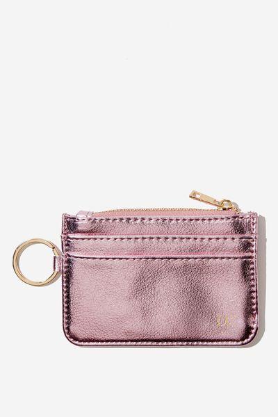Personalised Harper Mini Purse, PINK METALLIC