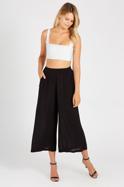 Wide Leg Crinkle Pant, BLACK