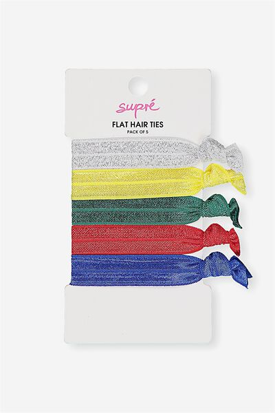 Flat Hair Tie Pack, 90s SPORTY PACK
