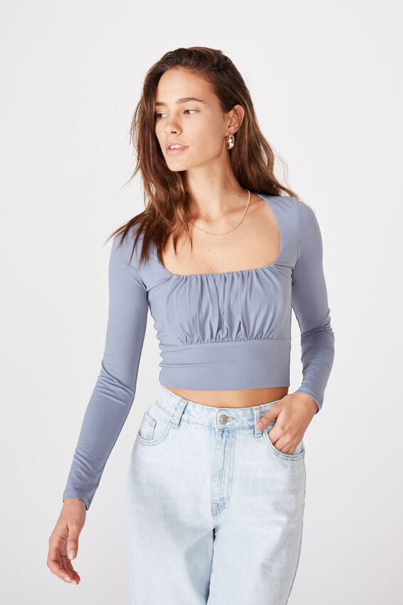 Hayley Gathered Front Long Sleeve Top, AIR FORCE BLUE