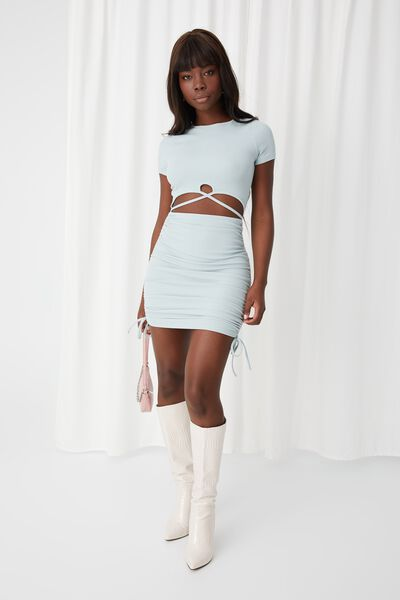 Julia Cut Out Ruched Dress, SMOKE GREEN