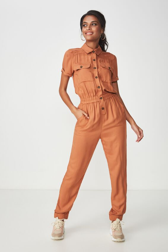 Safari Full Length Jumpsuit, TOFFEE