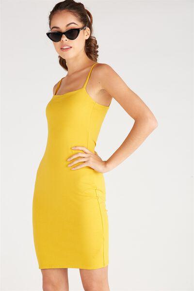 Basic Square Neck Cami Dress, MUSTARD