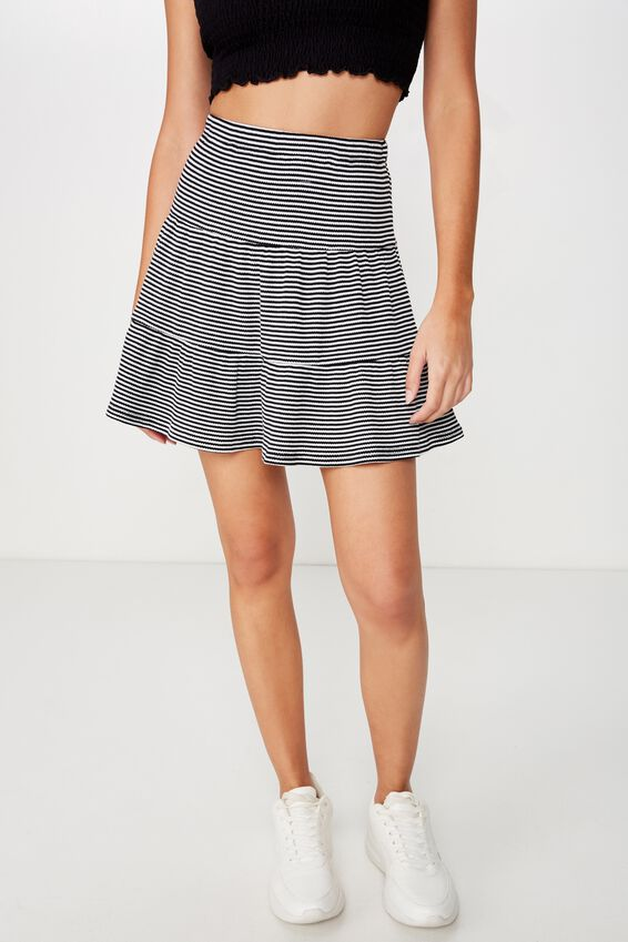 Josie Waffle Tiered Skirt, BLACK/WHITE STRIPE