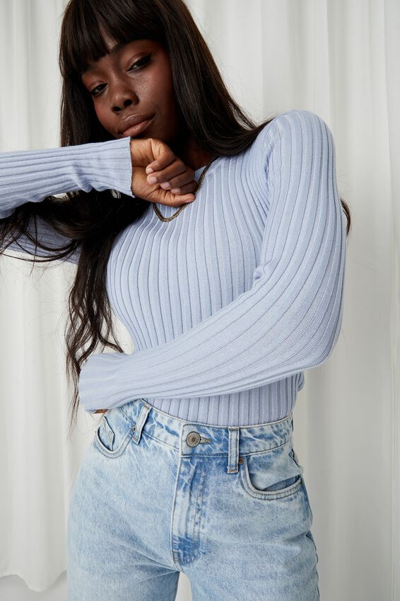 Willow Crew Neck Knit Top, COOL BLUE