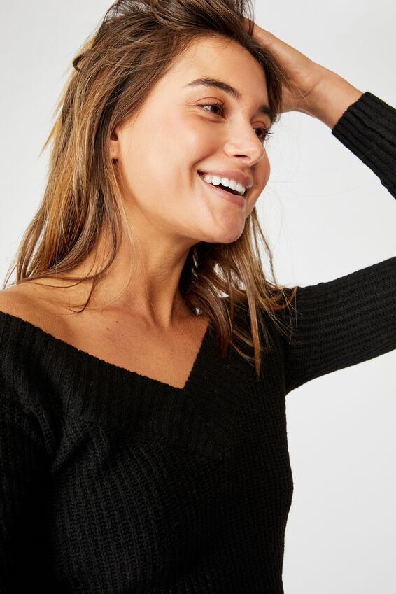 Cassandra V Neck Off Shoulder Knit, BLACK