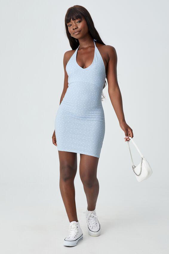 Uma Halter Mini Dress, AVERY FLORAL AURA BLUE