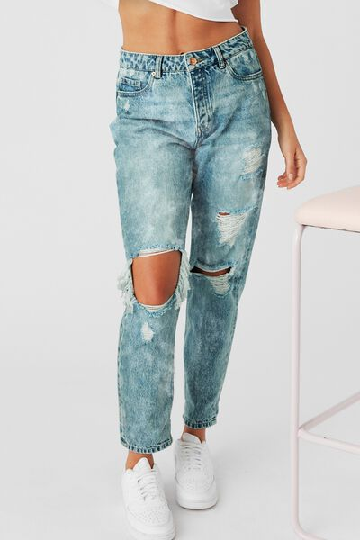 The Mom Ripped Denim Jean, SANDY BLUE RIPPED