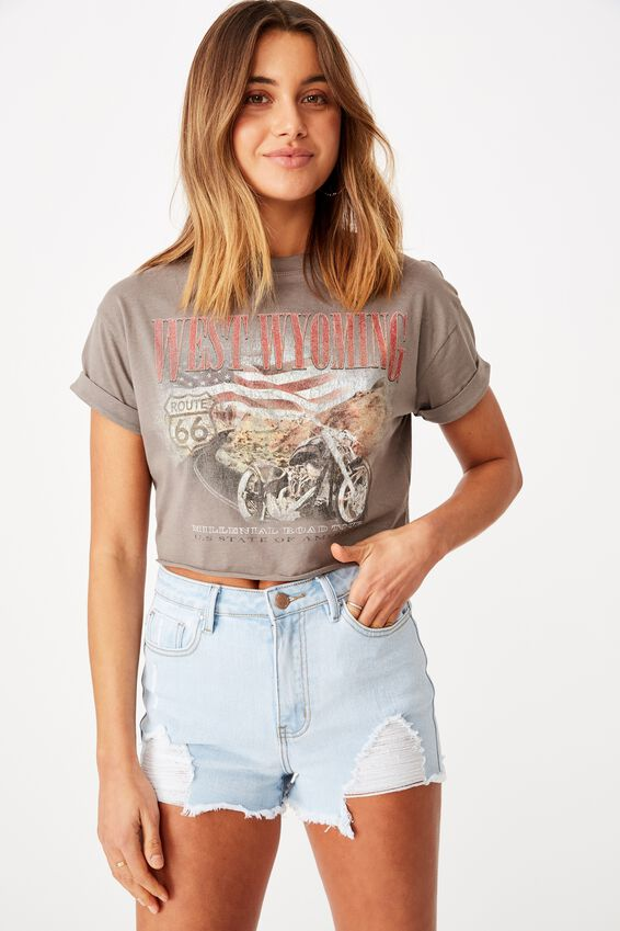 Tamara Printed Crop T Shirt, CEMENT GREY/WEST WYOMING MOTORS