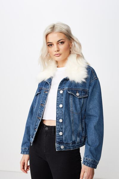 Faux Fur Collar Denim Jacket, INDIGO BLUE