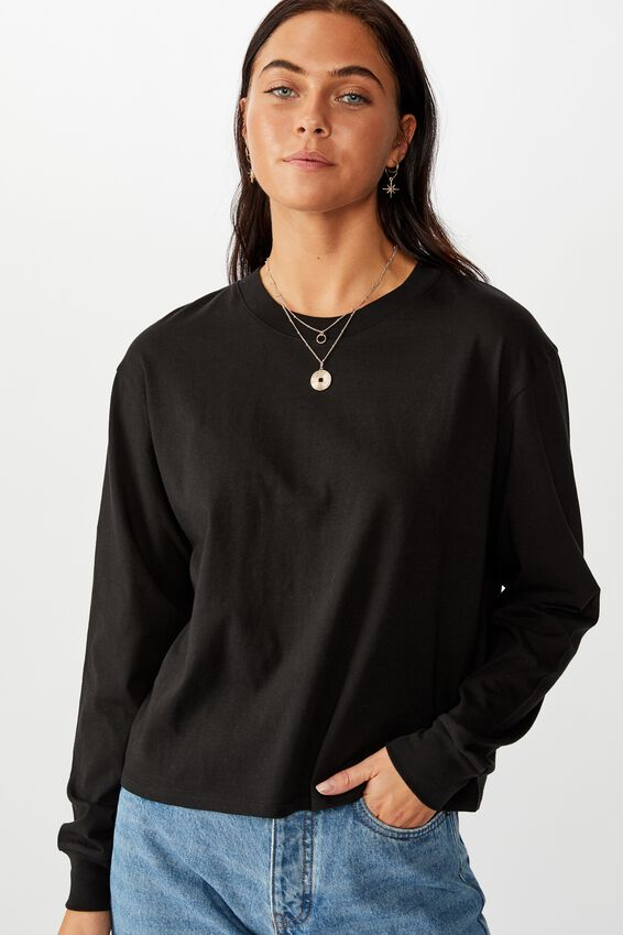 Teri Long Sleeve Crew Neck Top, BLACK
