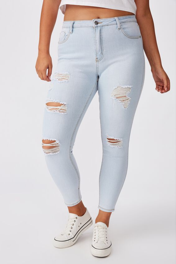 Skinny Premium High Rise Ripped Jean, POWDER BLUE