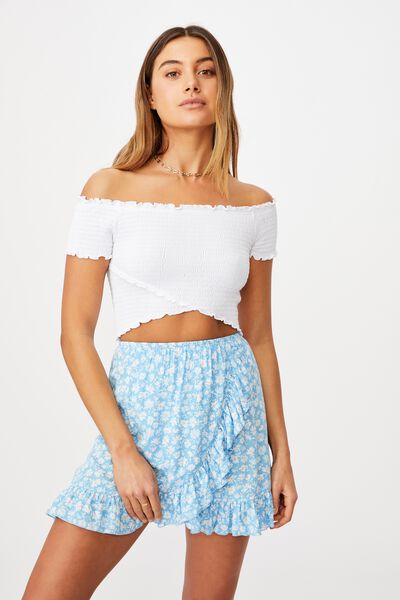 Kenzie Shirred Wrap Top, WHITE