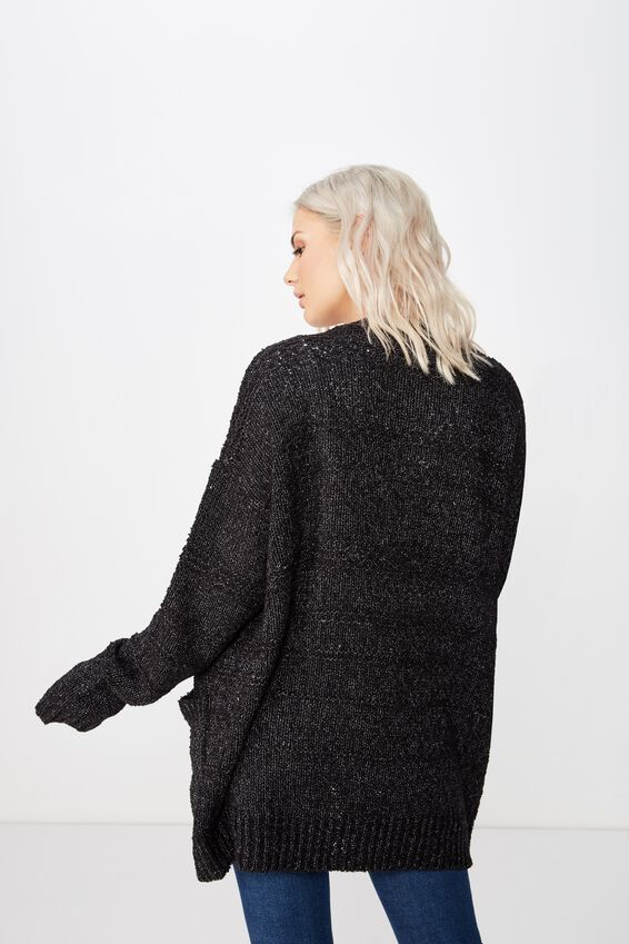 Lana Textured Knit Cardigan, BLACK