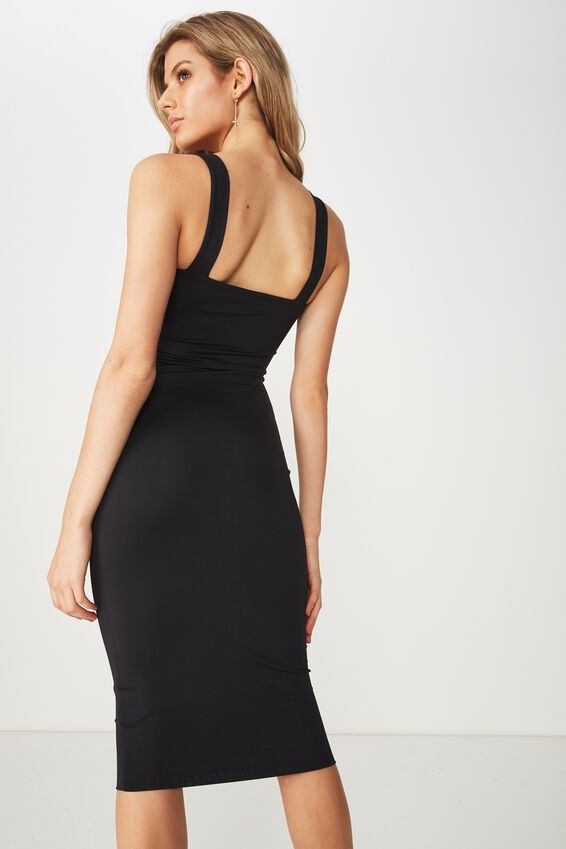 Luxe Thick Strap Midi Dress, BLACK