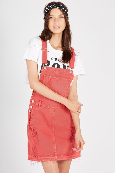 The Denim Pinafore, WASHED RED