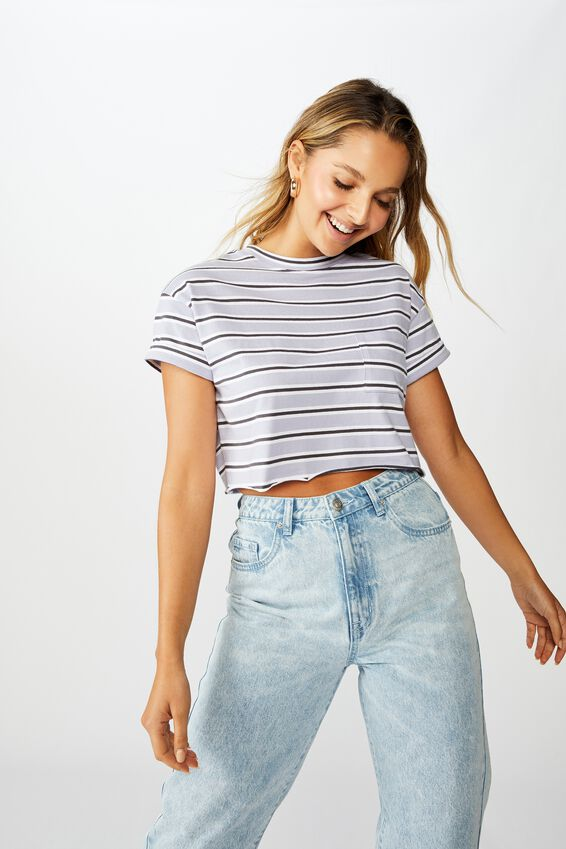 Ciara Crop T-Shirt, OLLIE STRIPE  LVEDR SKY GRNT GRY WHT