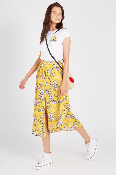 Button Through Maxi Skirt, SUNSHINE FLORAL