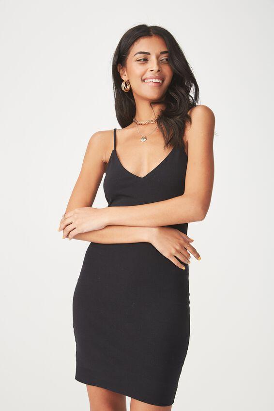 Deep V Double Layer Mini Dress, BLACK