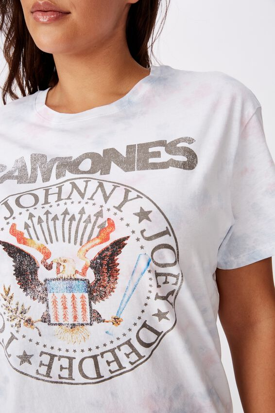 Kendall Printed T Shirt, SOFT TIE DYE RAMONES EMBLEM