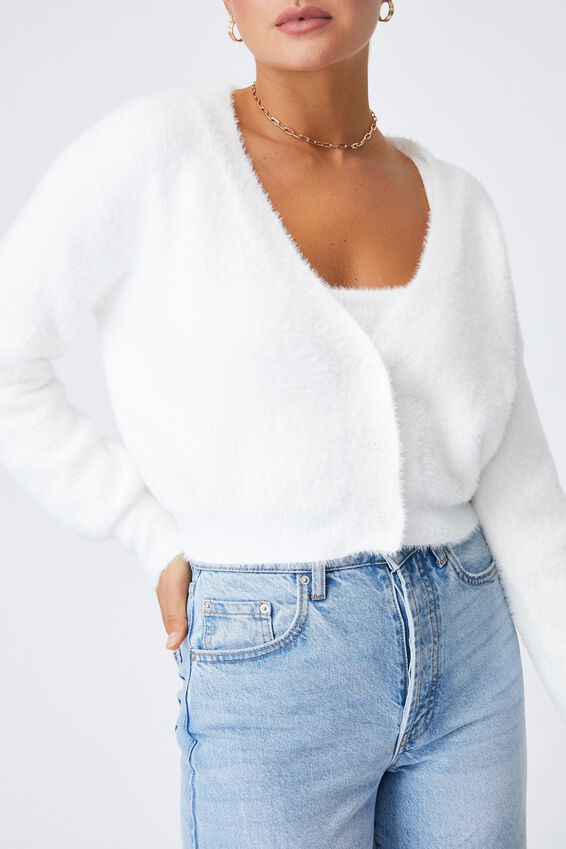 Melissa Fluffy Cardigan Co Ord, WHITE