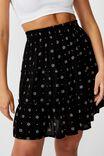 Tully Tiered Skirt, BLACK FOLK FLORAL
