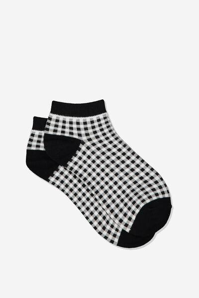 Gingham Ankle Cut Socks, BLACK/WHITE