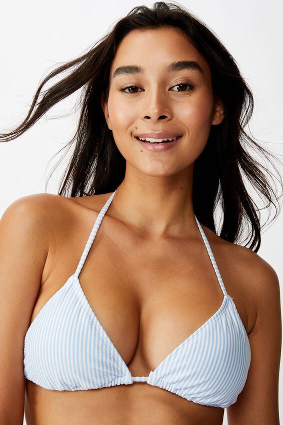 Bondi Slider Triangle Top, COLLEGIATE STRIPE (BLUE) SEERSUCKER