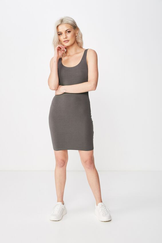 Bianca Thick Strap Mini Dress, GRANITE GREY
