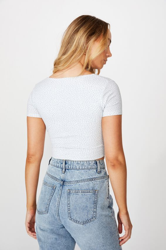 Clementine Short Sleeve Top, DELTA DAISY (WHITE/BLUE)