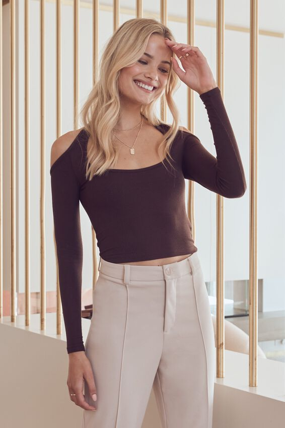 Dallas Cut Out Halter Long Sleeve Top, CHOCOLATE