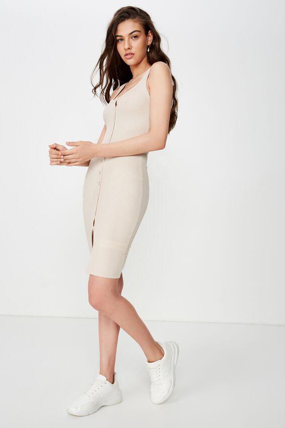 Linda Snap Button Midi Dress, COOKIE DOUGH