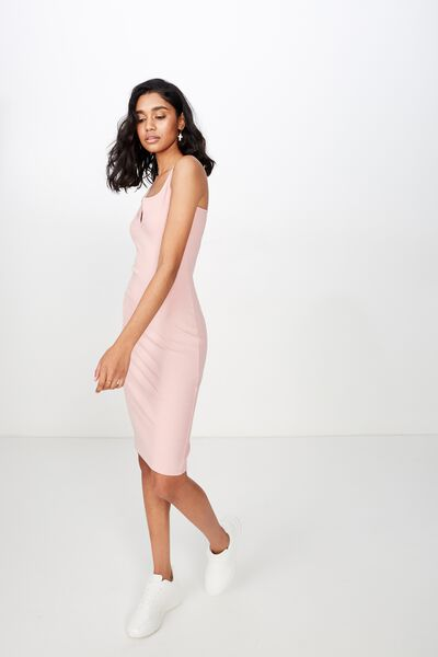 Edie Notch Rib Midi Dress, DUSK PINK