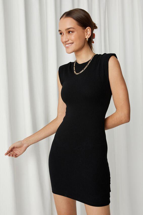 Tilda Padded Mini Dress, BLACK